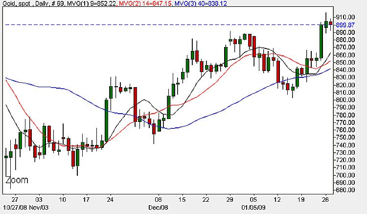 Spot Gold Prices Today - Daily Chart January 28th 2009