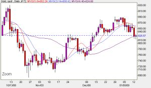 Spot Gold Daily Prices - Candlestick Chart 13th January 2009