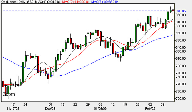 Spot Gold Price - Daily Candle Chart 16th February 2009