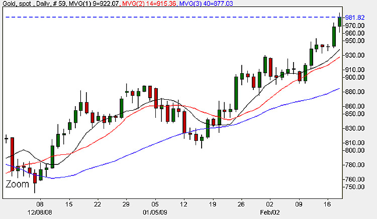 Spot Gold Price - Daily Chart 19th February 2009