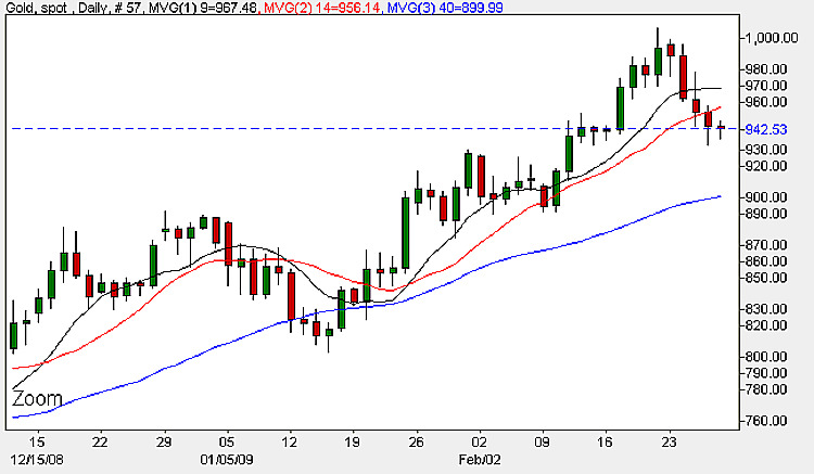 Daily Spot Gold Chart - 27th February 2009